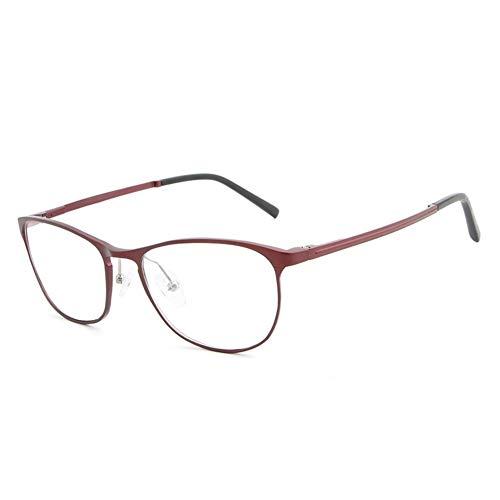 Neue Aluminium-Magnesium ultraleichte Mode blaulicht Flache Spiegel gläser Rahmen Mode Hipster männer Brille (Color : Red)