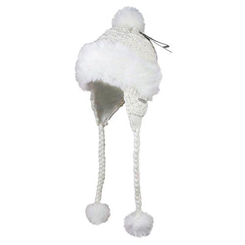 Kenmont Winter-Frauen Ski Outdoor Warm Earflap Faux-Pelz-Wolle Beanie Hat Cap Mongolei (weiß) Frauen Faux-pelz-hut