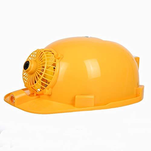 RKY Schutzhelm - Sommer Belüftung Kühlkappe Anti-Smashing-Beleuchtung wiederaufladbar mit Mobile Power Konstruktion Dual Power Supply Solar Fan Hut /-/ (Color : Yellow, Size : Standard 3000 mAh)