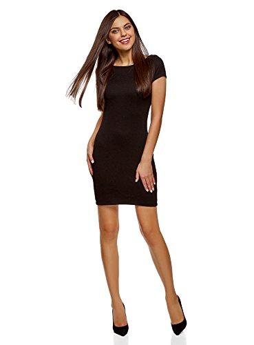 oodji Ultra Damen Kleid aus Strukturiertem Stoff mit U-Boot-Ausschnitt, Schwarz, DE 34 / EU 36 / XS