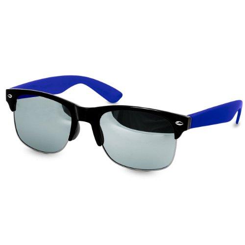 CASPAR Lunettes de soleil Clubmaster pour femme - plusieurs coloris - SG014 bleu / argenté miroir