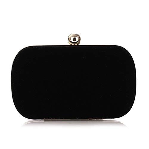 Lightpurple Damen Abend Handtasche Tasche Flanell Mode Handtasche (Color : Black)