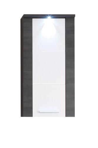 trendteam 131250210 Hängeschrank Xpress mit Korpus und Frontblenden in Esche grau Nachbildung und Front in weiß Nachbildung, 40 x 80 x 23 cm