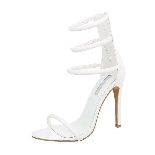 Ital-Design High Heel Sandaletten Damen-Schuhe High Heel Sandaletten Pfennig-/Stilettoabsatz High Heels Reißverschluss Sandalen & Sandaletten Weiß, Gr 39, B506Yh-Pb-