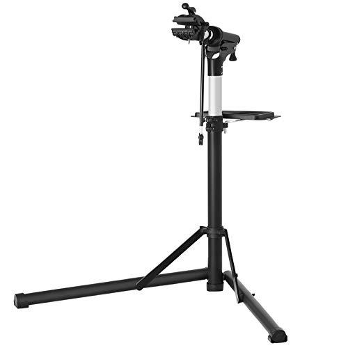 SONGMICS Fahrradmontageständer, Aluminium Montageständer für Fahrräder, Reparaturständer mit magnetischer Werkzeugschale, Reparaturset, höhenverstellbar, leicht, schwarz SBR04B -