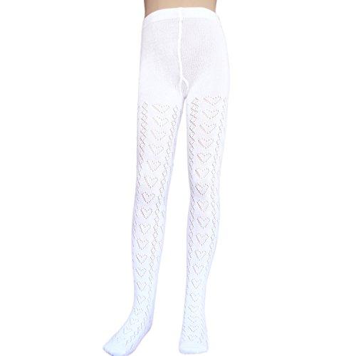 Mädchen-Baumwoll-Schulstrumpfhose ohne sperrige Zehennähte offenes gestricktes Herzmuster Pointelle Strumpfhose (2-4 Jahre / 98-104cm, Weiß) (Spitzen-strumpfhose Weiße)