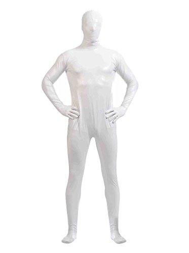 CHENGYANG Zweite Haut Ganzkörperkostüm Für Herren Mit Rücken Reißverschluss Catsuit Zentai Weiß 2XL