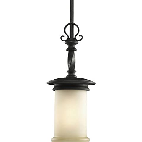 Progress Lighting P5076-80 1-Light Mini-Pendant with Jasmine Mist Glass Enhanced By Subtle Forged Iron Twists, Forged Black by Progress Lighting