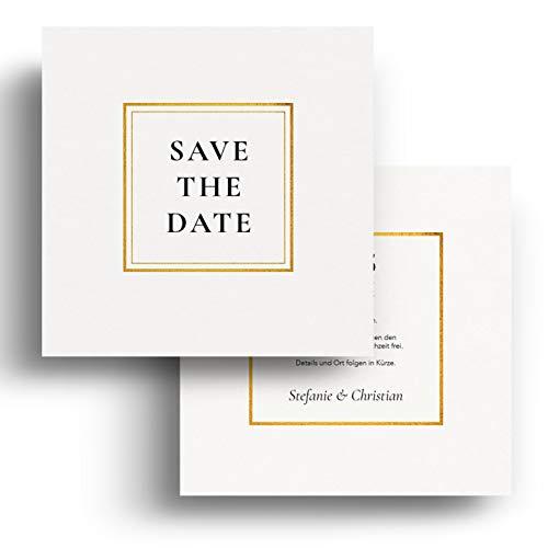 (40 x) Save the Date Karten zur Hochzeit - Einladungskarten Hochzeitseinladungen Weiß
