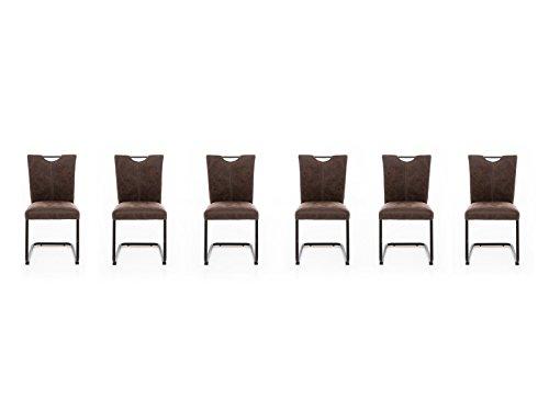 Woodkings 6X Freischwinger Schwingstuhl Kenton, Stoff braun, Vintage Optik, Esszimmerstuhl modern, Stuhl mit Griff, Designstuhl, Metallstuhl, Küchenstuhl