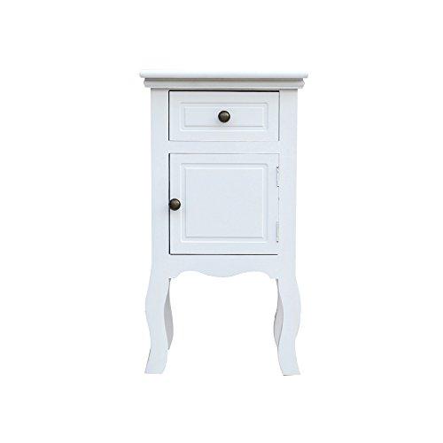 Rebecca mobili comodino mobiletto 1 cassetto 1 anta legno bianco provanzale shabby chic camera soggiorno bagno (cod. re4211)