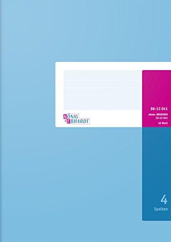 König & Ebhardt 8612041 Geschäftsbuch / Spaltenbuch (A4, mit festem Kopf, 4 Spalten, 80g/m²)