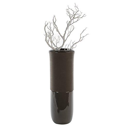 Casablanca - Bodenvase Adagio Porzellan dunkelgrau glasiert/Dunkelbraun matt mit Rillendesign