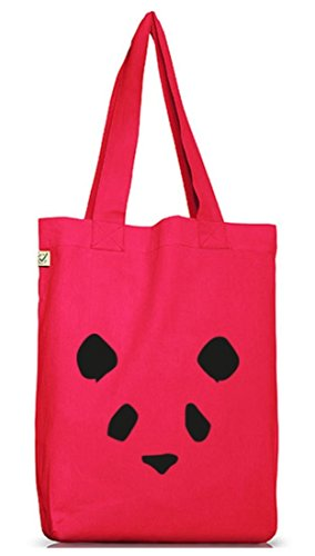 Bad Panda, Panda Face Gesicht Jutebeutel Stoff Tasche Earth Positive (ONE SIZE) Hot Pink