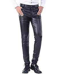 1733d8bd610 Duolunjindun - Pantalon Homme PU Cuir Noir Métallisé Jeunes Étanche Zippé  Slim Vent Automne Épais