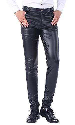 DUOLUNJINDUN Herren Slim Fit Hose aus PU Leder Elastisch Bikerhose Lederjeans Winddicht und Wasserdicht - Schwarz Größe 38 -