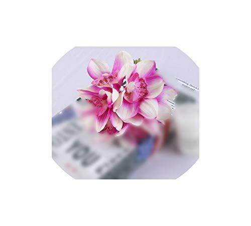 l Star-Artificial Flowers Künstliche Blumen 6 Kopf fühlt Sich Cymbidium Blumenstrauß künstliche gefälschte Blumen-Ausgangs Wohnzimmer Tisch Hochzeit Dekoration Blumen, Lila - Kopf-tisch-mittelstücke