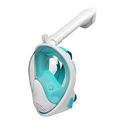 Vollgesichts-Schnorchel-Maske Faltbare 180° Panorama-Ansicht Schnorchel-Maske mit abnehmbarer Kamerahalterung, freier Atemschutz Anti-Fog-Anti-Leck-Tauchmasken für Erwachsene und Kinder,Green,XS -