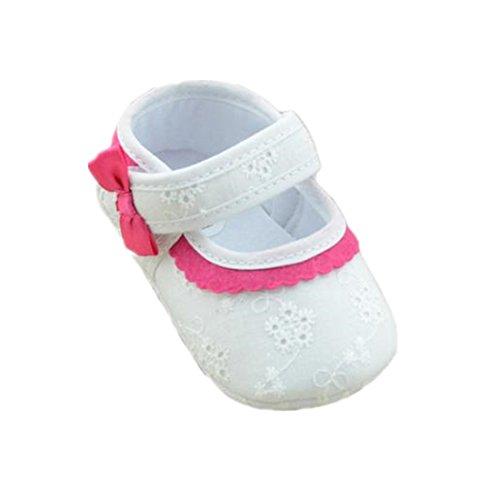 für 0-18 Monate Baby, Ularmo Mädchen Wenig gestickte Blume Schuhe (12/6-12 Monate, Weiß) Jungen Kleid Schuhe Größe 7