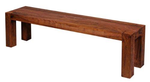 WOHNLING Esszimmer Sitzbank Massiv-Holz Sheesham 160 x 45 x 35 cm Design Holz-Bank Natur-Produkt Küchenbank Landhaus-Stil dunkel-braun Bank 3-Sitzer für innen ohne Rücken-Lehne Echt-Holz unbehandelt