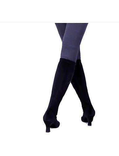 ShangYi Chaussures de danse (Noir/Marron) - Non personnalisable - Gros talon - Velours - Moderne Brown