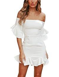 Sommer Damen Minikleid Mode EIN Wort Kragen Trompetenärmel Kleider  Tunikakleid Sexy Etui Kleid… 536ae920fa
