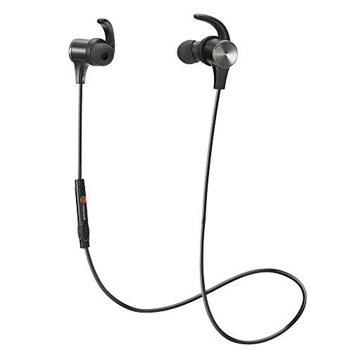 TaoTronics Cuffie Bluetooth Magnetiche Auricolari Sportivi Wireless Stereo (Bluetooth 4.1 IPX5 aptX A2DP 8 Ore Riproduzione Microfono Incorporato, CVC 6.0) per iPhone Galaxy Tablet MP3, ECC. - Nero