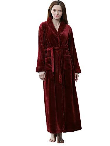 Robe de Chambre Femme en Polaire Douce Peignoir Long Moelleux zippé, Rouge, UK 6-8 (étiquette M)