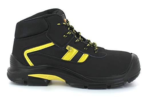 Foxter - Chaussures de sécurité | Mixte : Hommes et Femmes | Montantes | Baskets de Travail | Légères et Respirantes | Imperméable | sans métal | Cuir Noir | ESD S3 SRC