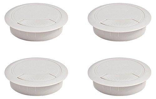 Emuca 3196421 Set von 4 runden Kabeldurchführungen Durchmesser 60mm zum Einfügen am Schreibtisch, aus grauem Kunststoff, Ø80mm (4un) -