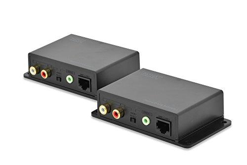 über Vga-audio Cat5 (DIGITUS Professional DS-56100 - Audio Extender - Set (Sender/Empfänger) - Cinch oder 3.5mm Klinke - bis zu 600 m Reichweite - UTP Patchkabel (Cat 5/5e/6) - schwarz)