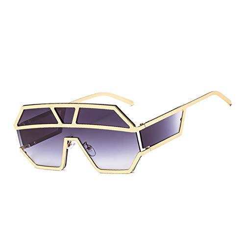 Kjwsbb Sonnenbrille mit Einer Linse und Seitenschutz Gold Schwarz Damen Sonnenbrillen Herren Big Frame Metall Herren Accessoires