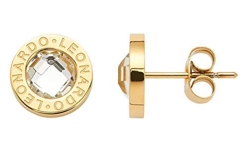 JEWELS BY LEONARDO Damen-Ohrstecker Matrix gold, Edelstahl gold mit klarem Farbglasstein und LEONARDO-Gravur, Größe (B/H/T): 10/10/14 mm, 015568