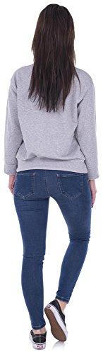 Sweater Front-Stripes Pulli Sweatshirt Streifen Damen Pullover Hellgrau