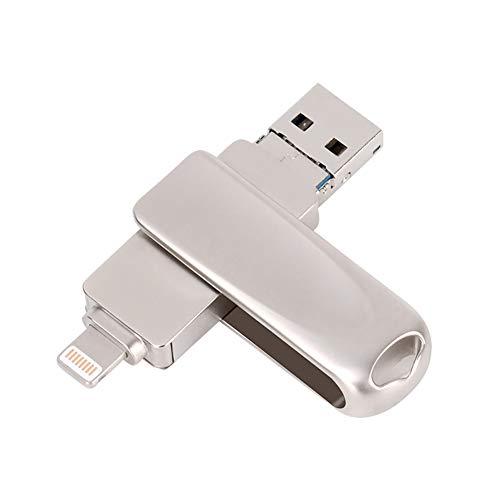 QKa 3-in-1-OTG-USB-Flash-Laufwerk für Android und iPhone USB 3.0 Externer High-Speed-Memory-Stick für iOS/iPad/Android/Mac/PC,128GB