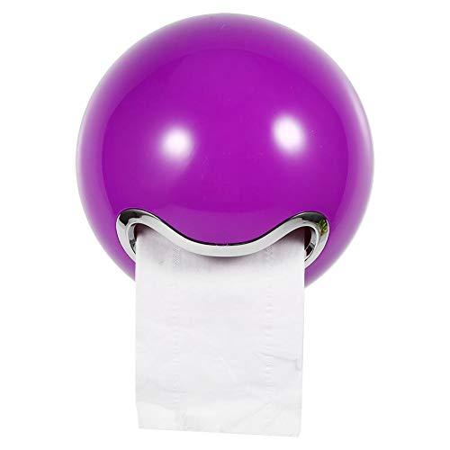 Papierrollenhalter, Cute Ball Shaped Wall Mounted Toilettenpapierhalter Tissue Rack Praktische Badezimmer WC Papierrollenhalter TP-Halter(Lila)