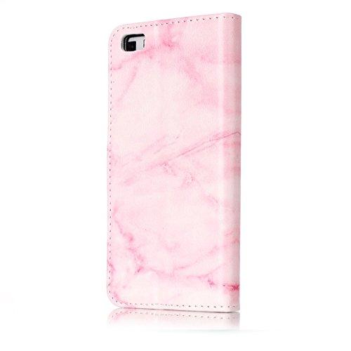 Für Huawei P8 Lite Horizontale Flip Case Cover Luxus Blume / Marmor Textur Premium PU Leder Brieftasche Fall mit Magnetverschluss & Halter & Card Cash Slots ( Color : D ) C