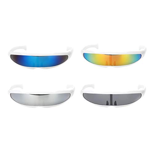 D DOLITY 4er Pack Futuristische Verspiegelte Sonnenbrille Party Requisiten Brille Kit für Geburtstag Dekoration