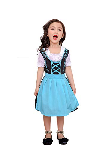 Yiwa Girl Kids Costume Dirndl Midi Costume Dress Bavarian National Style for Oktoberfest Beer Festival Halloween Blue - Luftpolsterfolie Kostüm