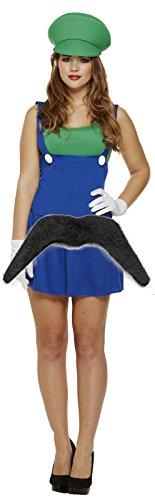 Und Luigi Outfit Mario (Damen Luigi HANDWERKER KLEMPNER 90er Jahre Outfit mit Kostüm)