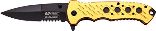MTech USA Taschenmesser MT-A874 Serie, Messer ALU Loch Optik Griff Gold, scharfes Jagdmesser, Outdoormesser 10 cm ROSTFREI Klinge Halbgezahnt, Klappmesser für Angeln/Jagd -