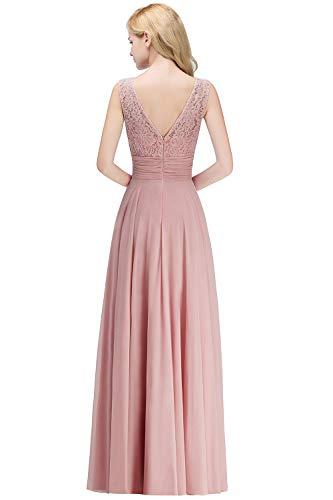 MisShow Damen 2018 Elegant Ärmellos A-Linie Chiffon Lace Abendkleider elegant für Hochzeit Abschlussball Cocktailkleider Festliches Partykleider Rosa 34