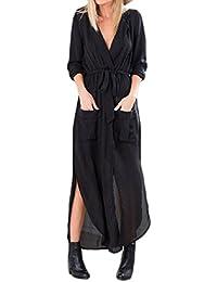 daf46b3df204 Donna Vestito Elegante Estivo Lungo Vintage Anni 60 Hippie Mare Vestiti  Spiaggia One Piece Casual Maniche