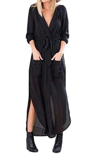 Donna Vestito Elegante Estivo Lungo Vintage Anni 60 Hippie Mare Vestiti Spiaggia One Piece Casual Maniche Lunghe Abito Camicia Vestito Nero