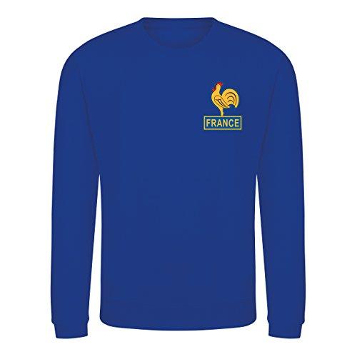 Kids Retro France Les Bleus Football Fan Sweatshirt Royal Blue Long Sleeve