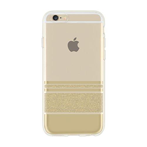 Incipio [Esquire Series] Carnaby Schutzhülle für Apple iPhone 7 / 8 in schwarz [Oberfläche aus Baumwolle | Robuste Hartschale | Edle Optik | Hybrid] - IPH-1485-CBK Wesley Stripes - gold