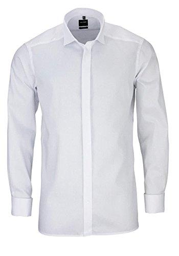 Olymp Smokinghemd Soirée weiss, strukturiert Kläppchenkragen in langarm (65cm) Weiß