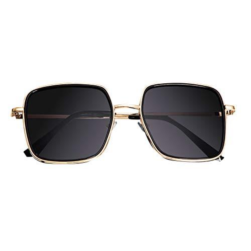 Hniunew Wild Trend Sonnenbrillen Oversized ÜBergroßE Sonnenbrille FüR Frauen Damen,Polarisierte üBergroßE Vintage Retro Eyewear GläSer MetallbrüCken Platz Rahmen Sunglasses Schutzbrille