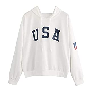Lazzboy Womens Hoodie USA Flag Letter Print Sport Sweatshirt Solid Long Sleeve Hooded Hip Pop Tops Blouse(S(8),White)