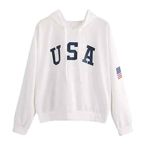 Lazzboy Womens Hoodie USA Flag Letter Print Sport Sweatshirt Solid Long  Sleeve Hooded Hip Pop Tops 5811fd6b9b